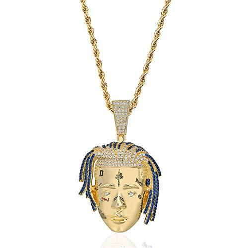 Moca Jewelry - Collar con colgante de cadera de oro de 18 quilates con circonitas cúbicas de imitación de diamante micropavé para hombres y mujeres