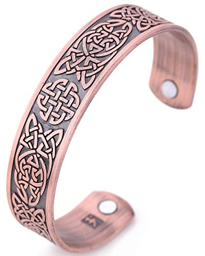 My Shape Classic Irish Celtic Knot Bracelet Magnetic Therapy Cuff Bangle Irish Pattern Jewelry (Antique Copper)