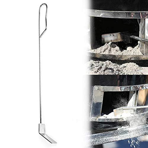 Tenwan Herramienta de rastrillo de ceniza de acero inoxidable resistente con mango largo para estufa de leña Accesorios de parrilla (46 cm)