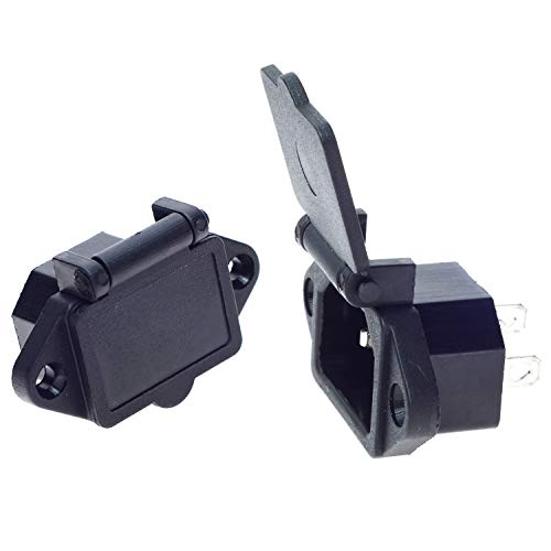 2 Pcs AC 250V 10A IEC 320 C14 Panel Mount Plug Adapter Power Connector Socket with Spring Cover