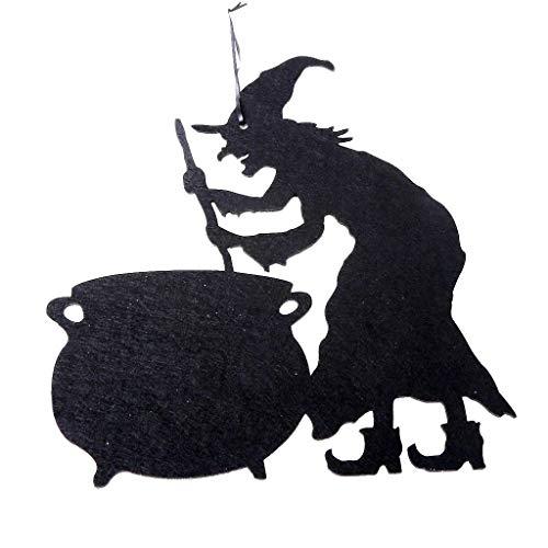 Halloween Deko Tür Auflistung Vliesstoff Schädel Hexe Haunted House Hängend Anhänger Bar Garten Dekoration Innendekoration Parteidekor (Schwarz B)