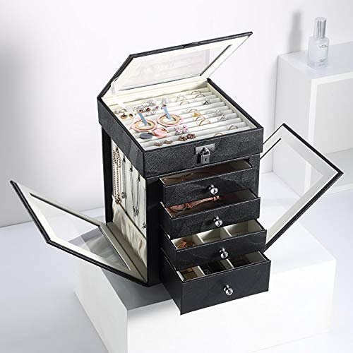 OH Jewelry Box 5 Layers Large Jewelry Box Rotating Jewelry Display Casket Earrings Ring Boxes Jewelry Organizer High Capacity