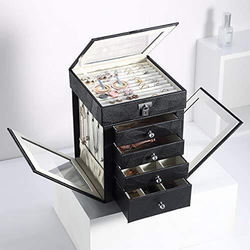 OH Caja de Joyería 5 Capas de Joyería Grande Joyería Giratoria Pantalla Pendientes Arances Cajas de Anillos Organizador de Joyería Alta capacidad