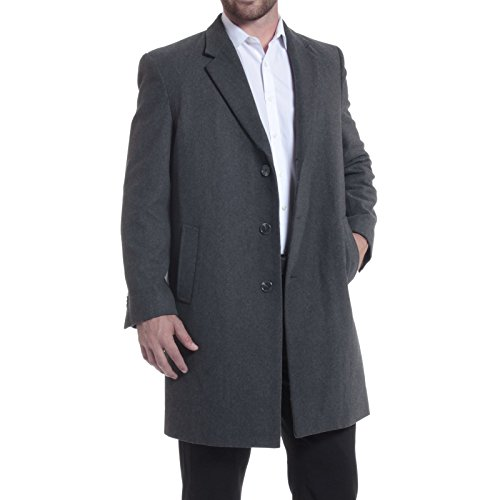 "Alpine Swiss Luke Mens 3 Button Tailored Wool 37"" Walker Car Coat Gray Medium"