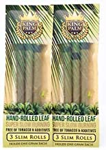 King Palm Slim Size Natural Pre Wrap Palm Leafs (2 Packs of 3, 6 Rolls Total) - Pre Rolled Cones - All Natural Cones - Cor...