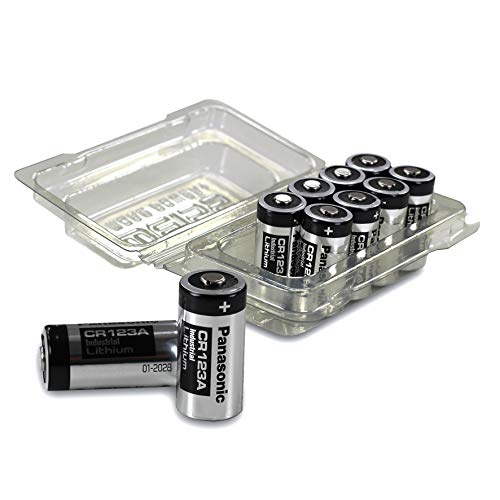 10x Panasonic CR123A Industrial Lithium Batterien CR 123 A Batterien 3V, inkl. Batterieschutzbox von Weiss – More Power + (u.a. geeignet als Batterien arlo Batterien)