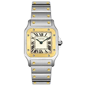 Cartier Women's W20012C4 Santos 18K Gold and Stainless Steel Watch image