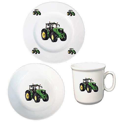 Kindergeschirr Frühstücksservice 3-TLG. Kinder Service Set aus Porzellan Traktor Teller Becher Schale Kinderservice