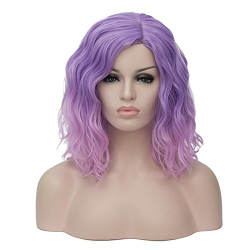 Cying Lin Short Bob Colorful Wigs Wavy Curly Wig Pink Ombre Wig For Women Cosplay Halloween Wigs Heat Resistant Bob Party Wig Include Wig Cap