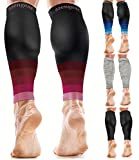 aZengear Calf Support Compression Sleeves for Men & Women - Running Sleeves - Shin Splint Support Calf Braces - Calf Guards - Leg Sleeves for Torn Muscle & Cramps - Black/Pink L/XL