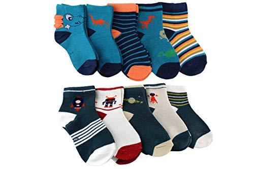SocksBox Parent 5er/10er Bundle Jungen Socken | 100% Baumwolle (Dino, 27-30)