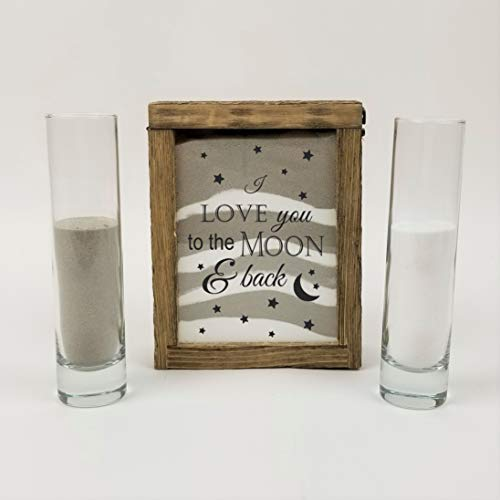 Streamside Shoppe Rustic Unity Sand Ceremony Set I Love You to The Moon and Back Rustic Shadow Box for Wedding, Vow Renewal, Unity Sand Ceremony Set, Beach Wedding Decor, Unity Candle Alternative