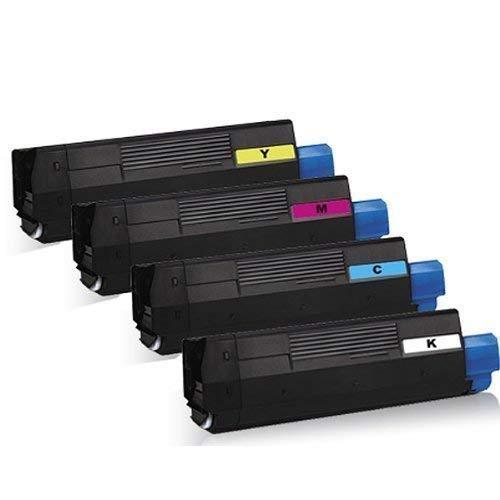 Juego de 4 cartuchos de tóner XXL (para OKI C3100 C3200 N C5100 N C5150 N C5200 N C5200 NE C5250 DN C5250 N C5300 DN C-3100 C-3200 N C-5100 N C-5200 N C-5250 C-5300 negro, cian, magenta y amarillo)