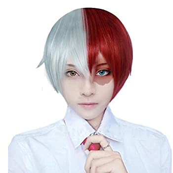 Anogol Hair Cap + Short Red Cosplay Wig Silver White Ombre Wigs Synthetic Hair Fancy Dress