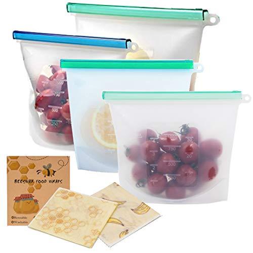 Nenda Bolsas de almacenamiento reutilizables de silicona para alimentos