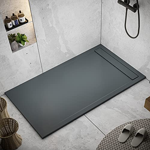Shower Tray 900 x 1800 Stone Resin Thames - Anti Slip and Low Profile - Matte Finish and Smooth Texture - All Sizes Available - Shower Waste and Painted Grid Included - Anthracite RAL 7011