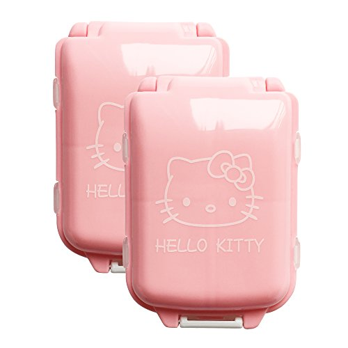 BeneAlways 2 Pcs of Hello Kitty Portable Pill Box Case Holder Organizer Storage for Medicine Tablet Vitamin (Pink)