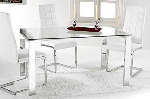 Adec - Universal, Mesa Comedor, Mesa Salon, Cocina, Estructura Metalica Cromada y Cristal Templado Translúcido, Medidas: 140 cm (largo) x 90 cm (ancho) x 73,5 cm (alto)