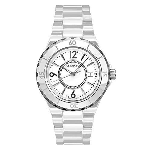 ASSARTO Watches ASD-5110WHT Keramikuhr mit Schweizer Uhrwerk und Saphirglas, weiße Damenuhr, Sportuhr, Quarzuhr, Unisexuhr