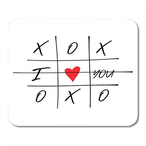 Mauspads tic tac toe spiel mit criss cross und ich liebe dich rotes herz zeichen symbol pinsel doodle line happy valentines mauspad für notebooks, Desktop-computer büromaterial
