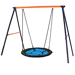 SUPER DEAL Swing Set, 40″ Kids Web Tree Swing Saucer Swing + 72″ All-Steel All Weather Stand Combo (Blue, XXL)