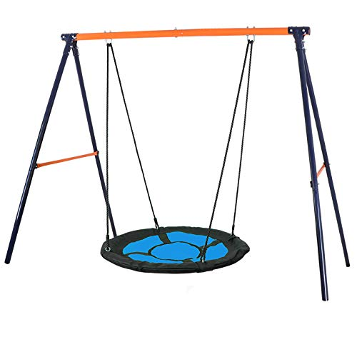 "SUPER DEAL Swing Set, 40"" Kids Web Tree Swing Saucer Swing + 72"" All-Steel All Weather Stand Combo (Blue, XXL)"