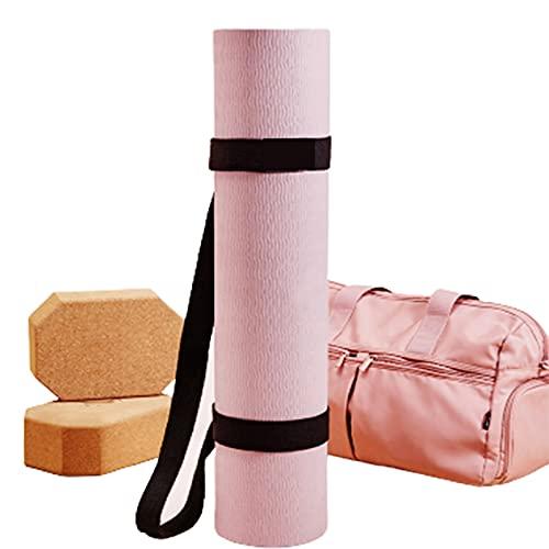 Esterilla de Yoga Bicolor para Espesar Alfombrilla Deportiva de Doble Cara Antideslizante Resistente al Desgaste Plegable Fácil de Llevar para Abdominales Flexiones Equipo de Gimnas(Color:Gris oscuro)