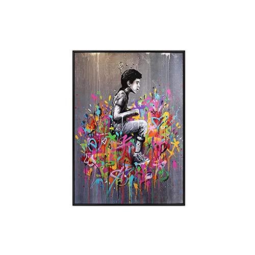 Moderno Graffiti Arte Chica Desgaste Corona Poster Impresiones Calle Arte Lienzo Pinturas Banksy Pared Arte para Sala Hogar Decoracion Cuadros 40x60cm No Marco