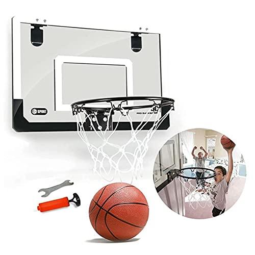 SHENAISHIREN Hoop de Baloncesto, Cuello de Baloncesto Hoop Transparente Baloncesto Hoop Mini Tablero pequeño pequeño Utilizado para la práctica de Dunking 45.5x30.5cm