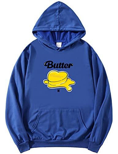 kpop Merch Butter Hoodie – Pullover Jungkook V Jin Suga Jimin J-HOPE RM Funny Hoody ARMY Unisex Gr. XL, blau