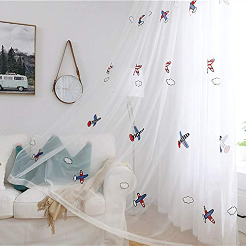 AliFish 1 Panel White Kids Curtain Sheer for Boys Bedroom Cartoon Airplane Embroidery Linen Voile Drape Rod Pocket Nursery Window Treatment 84 Inch Long by 39 Inches Width