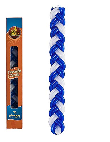Ner Mitzvah Havdalah Candle Blue And White Paraffin Round by Ner Mitzvah