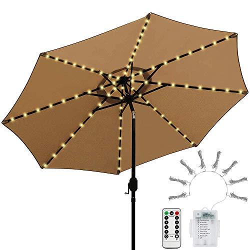 Lichterkette für Sonnenschirm, LED Lichtbänder mit Fernbedienung 8 Modi Timer, Sonnenschirm Lichter 104 Leds Beleuchtung Regenschirm Außenleuchten Dekoration, Warmweißes Licht