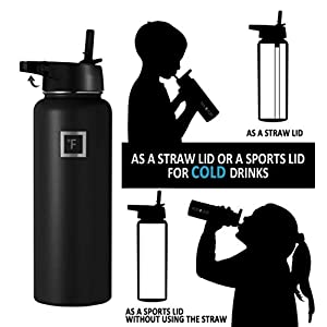 Iron Flask Sports Water Bottle - 40 Oz, 3 Lids (Straw Lid), Vacuum Insulated Stainless Steel, Hot & Cold, Wide Mouth, Double Walled, Hydro Metal Canteen, Mid Black