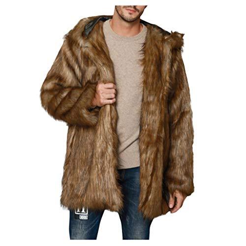 Dasongff Mannen bont mantel bontmantel kunstbont jas warm winterjas pluche mantel gebreide jas kunstbont carnaval carnaval kostuum