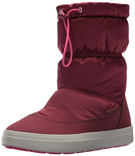 crocs Women's LodgePoint Shiny Pull-on W Snow Boot, Garnet/Candy Pink, 8 M US