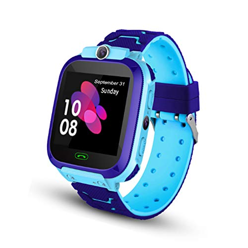 Kids Smartwatch - Touch Screen Smart Watch with LBS Tracker SOS Two Way Call Voice Chat Math Game Alarm Clock Camera Wrist Watches for Boys Girls Holiday Christmas Birthday Gifts (Blue)