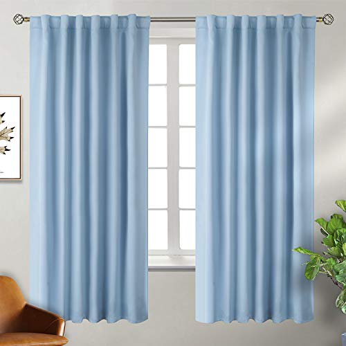 BGment Rod Pocket and Back Tab Blackout Curtains for Bedroom Thermal Insulated Room Darkening Curtains for Living Room, 2 Window Curtain Panels (W55 X L69 Inch, Airy Blue)