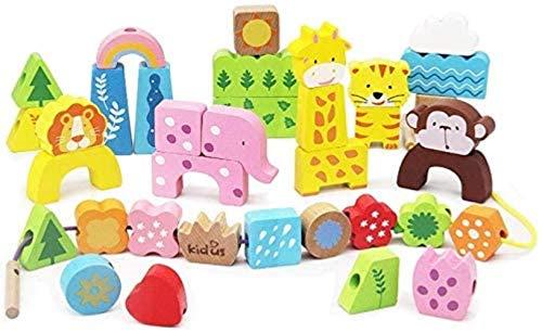 Holzblock Threading Spielzeug Kinder Threading Perlen Educational Threading Lernspielzeug - Gro?e Holz Transport Building Blocks 20 Stück (Farbe: Tier, Gr??e: 24.5x32.5x3.5cm),Gr??e:24.5x32.5x3.5cm,Fa