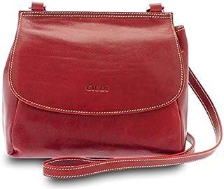 GIUDI ® - Borsa Donna in pelle vacchetta, Made in Italy, tracolla, vera pelle. (Rosso)