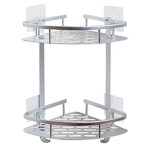 Laimew estanteria baño esquina sin taladro, Lustroso aluminio adhesivo estante ducha con ganchos para colgar, 2 gradas