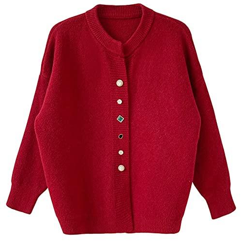 Piękny mały zapach klejnotowy sweter rozpinany damski luźny jednorzędowy płaszcz sweterkowy na jesień i zimę (kolor: czerwony,rozmiar: śRoodni)