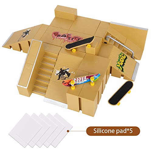 KidsHobby Mini Finger Skateboard Ramp Park Kit avec 8 Finger Board Site Skate Parties et 3 Planches à Doigts (Jaune Foncé)