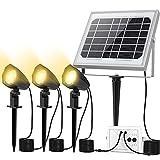 CLY Foco Solar LED, Proyector de Jardin, Blanco Cálido 3000K, Impermeable IP66, Foco Solar Iluminacion Exterior con Tres Bombilla para Jardín, Césped, Patio, Camino, Corredor