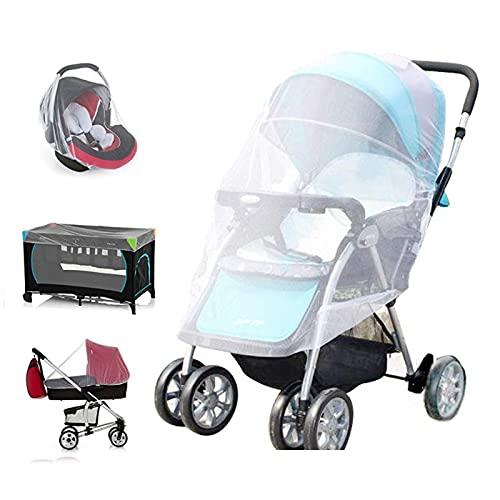 Mosquito Net for Stroller - V-Fyee Baby Stroller Mosquito Net - Bug Netting Mesh Cover for Strollers, Pack N Plays, Car Seats, Cradles, Mini Crib (White)