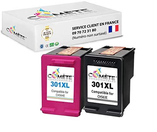 Pack de 2 cartuchos ● HP 301XL 301 XL HP301XL (CH563E + CH564E) ● Negro + Colores Compatible Premium para HP Deskjet Comète EN STOCK desde Francia