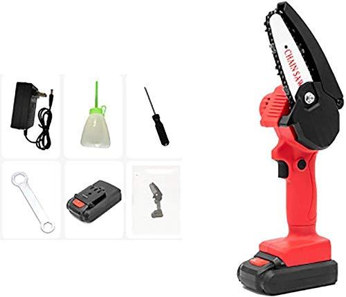 BGSFF Sierra eléctrica de poda de 24 V, mini motosierra eléctrica, baterías recargables, tijeras de podar sin cable (color: rojo, tamaño: gratis)