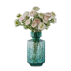 WYWY Silk Flower Artificial Dew Lotus Simulation Lotus Glue Fake Flower Branch Wedding Home Office Decor Floral Vase Set