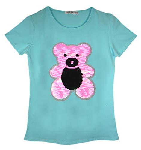Camiseta para niñas con diseño de lentejuelas, color menta, talla 7-8 años