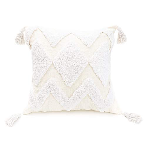 PLWORLD White Throw Pillow Cover 18x18 Inch, Boho Decorative Moroccan Tufted Thick Soft Cream Beige Chenille Textured Accent Pillowcase with Tassels for Couch Bed Living Room, 1 PC